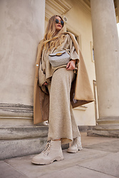 Marta Caban - Orsay Coat, Michael Kors Bag, Zara Pants, Jenny Fairy Shoes - Beige