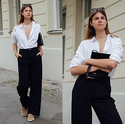 Jacky - Aurelien Loafers, Holzweiler Black Pants, Gestuz White Blouse, Maison Heroine Black Bag - Office outfit with loafers