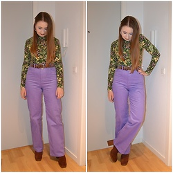 Mucha Lucha - Monki Roll Neck Top, H&M Belt, Monki Trousers, Asos Heels - Perfect purple trousers