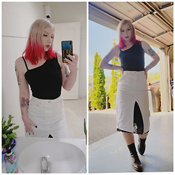 Natalie - Glassons White Denim Skirt, Asos Alarm Leather Boots, Postie One Shoulder Black Top - Black and white alt