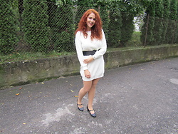 Kate P. - Femmeluxe White Dress, Peon Black Shoes - WHITE