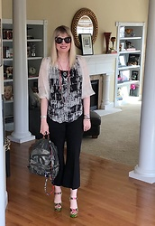Shannon D - Black Halo Top, Norma Kamali Pants, Alice + Olivia Heels, Chanel Backpack, Chan Luu Necklace, Shourouk Necklace - Warm November