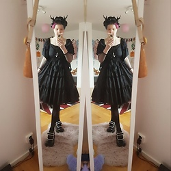 Alex Kawaii - Shock.Se Horns, Bodyline Black, Mary Jane Platform - Gothic Lolita