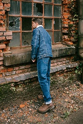 Kevin Elezaj - Dr. Martens Boots, Lee Jeans, Lee Jacket - Denim on Denim