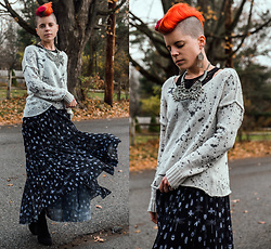 Carolyn W - Aldo Silver, Wooden Ship Knits Splatter, Black Milk Clothing Bugs, Black - November Shades
