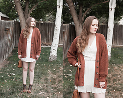 Emily S. - Abercrombie Oversized Cardigan, Thursdays Lace Up Boots, Leather Strata Bag, Abercrombie & Fitch Mini Dress - Rust & White