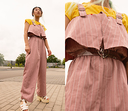 RuiJun L - Aliexpress Pink Jumpsuit, Dhl Yellow Top, Heart Belt Transparent, Aliexpress White Sandals - WHITE STRIPES