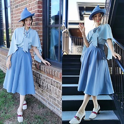 Ming Francis - Gucci Pearl Pumps, Chic Wish Cape Top, Chic Wish Midi Skirt, Warner Bros. Fleur Delacour Hat, Pandora Harry Potter X Bracelet - Beauxbatons Style
