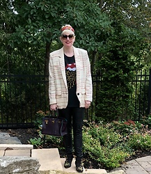 Shannon D - Hermès Silk Scarf, Hermès Bag, Chloé Studded Black Suede Boots, Acne Studios Leather Pants, Daydreamer Rolling Stones Tee, Chloé Sunglasses - Isabel Marant Jacket
