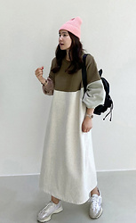 Miamiyu K - Miamasvin Color Blocked Fleece Lined Long Dress - Street Essential
