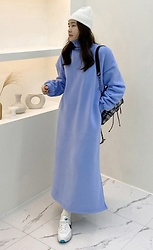 Miamiyu K - Miamasvin Fleece Lined Turtleneck Long Dress - Casual Habit