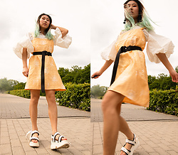 RuiJun L - Aliexpres White Puffy Top, Diy Yellow Dress, Aliexpress Black Belt, Aliexpress Black & White Sandals - YELLOW