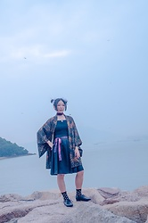Flosmoony - Vintage Haori, H&M Top - Seaside shooting 3