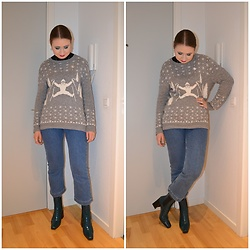 Mucha Lucha - H&M Jumper, H&M Jeans, Topshop Boots - Teal and light grey