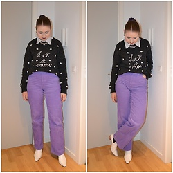 Mucha Lucha - Second Hand Shirt, H&M Jumper, Monki Trousers, Topshop Boots - Purple and grey