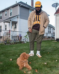 Akil Carter - Topman Cargo Pants, New Balance Workwear Sneakers, Uniqlo Workers Jacket - Dog walks