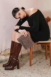 Life Stalkers - Jeffrey Campbell Shoes Glossy Boots, Pop Air Off Shoulder Dress, Sen Handmade Knitted Bag - Choco Boots
