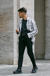 Kevin Elezaj - Salomon Sneakers, Pants Suit, Hugo Boss Belt, A.P.C. Knit, Samsoe Shirt - Zebra