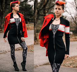 Carolyn W - Vintage Red, Striped, Black Milk Clothing Mechianical, Ego Shoes Black - Biomechanical