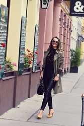 Butterfly Petty - Burberry Trench, Zara Shoes, Guess Bag, Zara Leather Pants - Trench