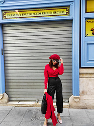 Mi Vida En Rojo - Femme Luxe Crop Top, Zara Pants, Mango Shoes - Red Autumn