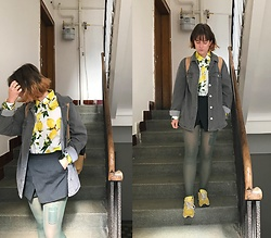 Hypersensitive M. - Thrifted Lemon Shirt, Thrifted Oversized Denim Jacket, Thrifted Skorts, Thrifted Yellow Nbs, Thrifted Dark Mint Tights - Lemon drop martini