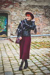 ZuZu Sabo - Sammydress Winter Scarf, F&F Culotte, F&F Burgundy Handbag, Deichmann Embroidery Shoes, Asos Leather Biker Jacket - Burgundy culotte