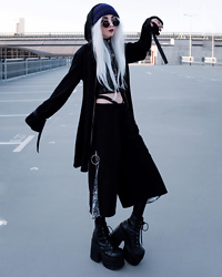 Kimi Peri - Kry Clothing Black Shorts, Demonia Camel 203 Platform Boots, Killstar Believe In Magic Tights, Kry Clothing Devil Cardigan, Vii & Co. Round Glasses, White Hair, Purple Beanie - Apocalyptica 🖤