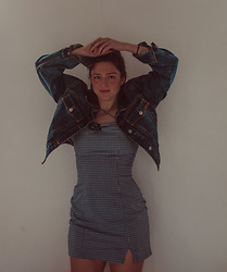 Mariamma Iris - Vintage Cropped Denim Jacket, Vintage Gingham Mini Dress - Mid November