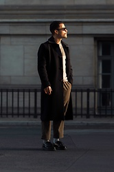 Kevin Elezaj - Dr. Martens Shoes, Urban Outfitters Pants, Sèfr Coat, Saint Laurent Glasses - Sunny