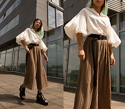 RuiJun L - Aliexpress Puffy White Top, Aliexpress Black Belt, Aliexpress Ribbed Pants - PUFFY & RIBBED