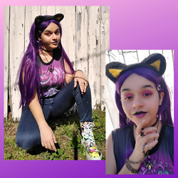 Jadie - Target Cat Ears, Amazon Long Purple Wig, Flea Market Steel Necklace, Hot Topic Cheshire Cat Tank, Indigo Rein High Waisted Jeans, Madrag Magazine Print Platform Boots, Hobby Lobby Silver Chain - 💜Purple Mall Rat Vibes💜