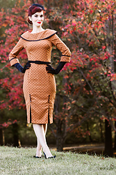 Bleu Avenue - Bettie Page Brown Dot Wiggle Dress - Vintage Thanksgiving