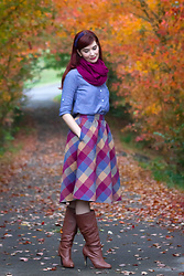 Bleu Avenue - Modcloth Plaid Wool Skirt, J Crew Chambray Tunic - Secondhand Savings