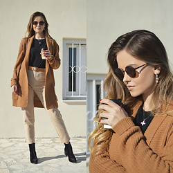 Tamara Bellis - Zara Black T Shirt, Stradivarius Pants, Zaful Boots, Pull & Bear Belt, Noracora Cardigan, Crulle Sunglasses - Coffee Time