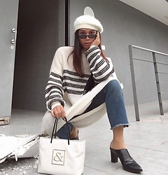 JUN UDAN - Thrift Store Barrette, Shades, Thrift Store Knitted Dress, Thrift Store Jeans, Thrift Store Mules, Thrift Store Squares Bag - WAITING FOR YOU