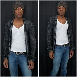 Thomas G - C.C Beanie Cap, Old Navy 3 Botton V Neck 3/4 Sleeve Shirt, H&M Cardigan, It Hottie - It is part of being alive