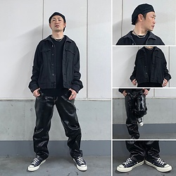 ★masaki★ - H&M Hats, Vitaly Ballchain Necklace, H&M Self Color Remake Denim Jacket, Eytys Benz, Converse Ct70 - ⚫️Allblack Everything⚫️