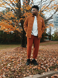 Jason - Adidas Yeezy 700 Vanta, Asos Rust Sweatpants, Brixton Work Coat - These Fall Colors Tho