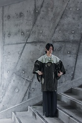 Flosmoony - Vintage Shirt, Vintage Michiyuki - Grey Wall Shooting 6