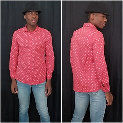 Thomas G - Lc Lauren Conrad Button Down Polka Dot Blouse, Levi's 547 Strauss & Co, Faded Glory Fedora - With just one polka dot, nothing can be achieved...
