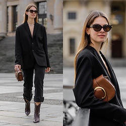 Jacky - Polo Ralph Lauren Small Bag, Toral Cowboy Boots, Levi's® Black Jeans, Zara Blazer, Bottega Veneta Cat Eye Sunglasses - Emily in Paris inspired look