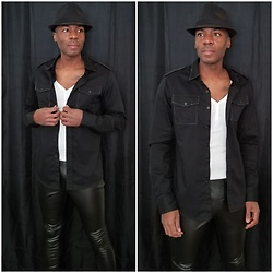 Thomas G - Faded Glory Fedora, Old Navy 3 Button V Neck 3/4 Sleeve Shirt, Irreverent Button Down Shirt, Faded Glory Faux Leather Pants - When you have no fear, the possibilities are endless.