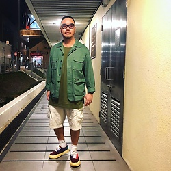 Mannix Lo - Jungle Jacket, Uniqlo Cargo Shorts, Miharayasuhiro Colour Block Sneakers - Young hearts fall for looks, Old souls fall for character
