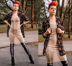 Carolyn W - Wrangler Plaid, Femme Luxe Sheer, Black Milk Clothing Bones Catsuit, Ego Shoes Black - Skin & Bones