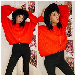Jasmine Wilson - H&M Red Sweater, Asos Black High Waisted Jeans, H&M Black Hat - Ready for the holidays