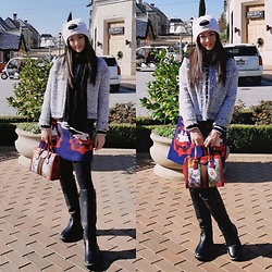 Ming Francis - Gucci Tote, Tory Burch Riding Boots, Chanel Scarf, Coven Garden A Line Skirt, Aitu Jacket, Coca Cola Bear Hat - Almost Winter