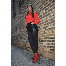Ana Dupre - Forever 21 Turtle Neck Red Sweeter, Forever 21 Leather Shorts, Dsw Red Ankle Booties - Christmas party