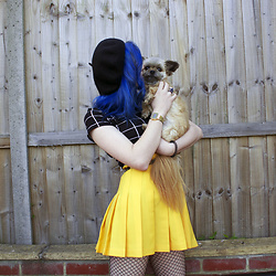 Amey Dunc - American Apparel Skirt, Shein Top, Shein Beret, Fishnets, Casio Watch - Holding my fellow whilst wearing yellow