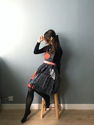 Flosmoony - Handmade Dress, H&M Black Turtleneck - Handmade dress by myself